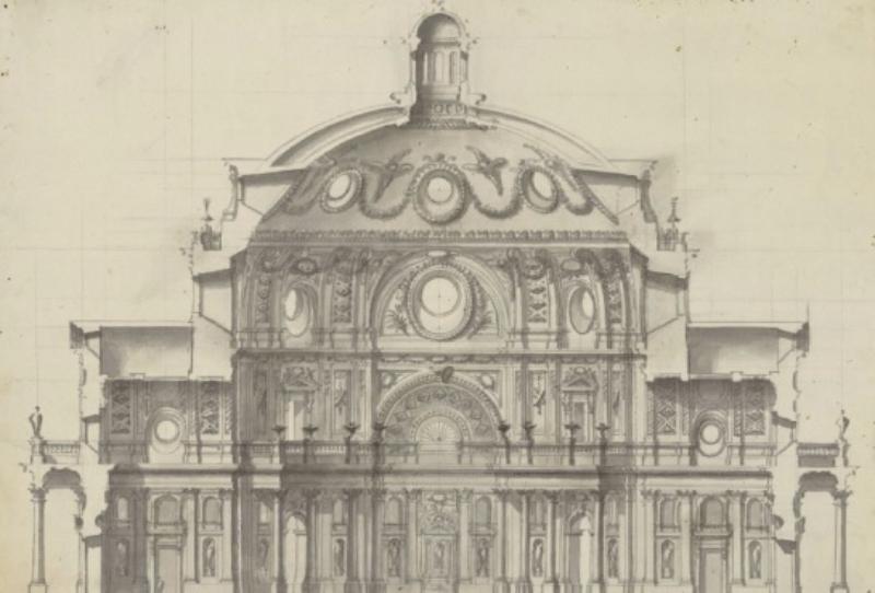 Ventura Rodriguez, disegno per una sezione di una chiesa (1740-1745), Madrid, Biblioteca Nacional de España