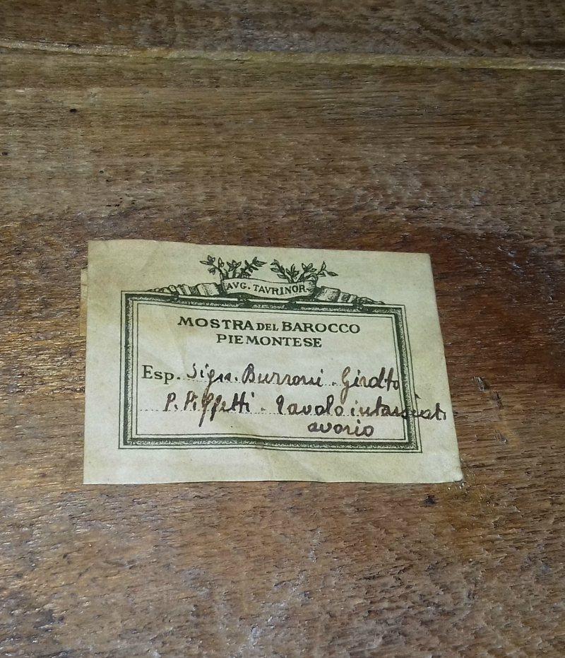 Barocco Piemontese. Etichetta Piffetti (1937).