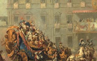 Mascarade des quatre parties du monde, Jean Barbault, olio su carta marouflé, 1751, Besançon, Musée des Beaux-Arts et d'Archéologie (particolare)